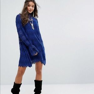 NWT Free People Simone Lace Zig Zag Mini Dress
